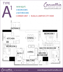 Bangsar South Camellia Serviced Suites - Unit Type A1 - Floor Plan